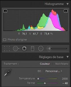 Tuto Lr : histogramme intermédiare